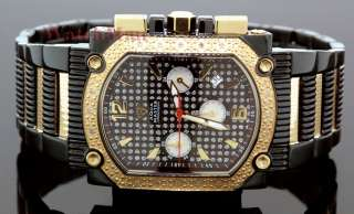 Aqua Master Mens Black and Gold Tone Steel Diamond Watch 0.16ct