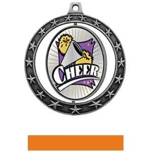 Xtreme Medals M 7701 SILVER MEDAL / ORANGE RIBBON 2.75 SPINNER EXTREME