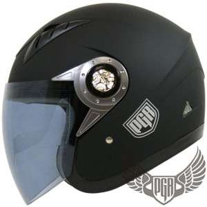 PGR Matte Flat Black Jet Pilot DOT Approve Motorcycle Open Face Helmet