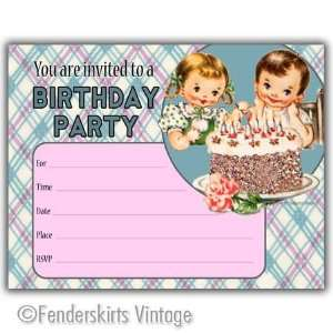 Vintage Boy/Girl Cake Birthday Party Invitations: Toys & Games