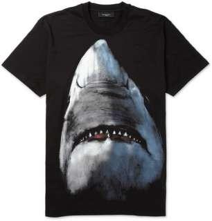 Clothing  T shirts  Crew necks  Shark Print Cotton
