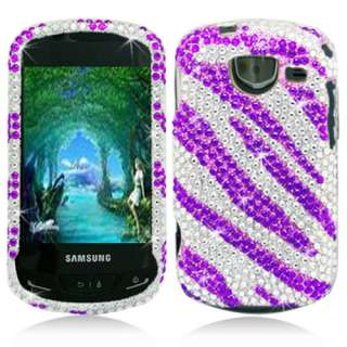Purple Zebra Bling Hard Snap On Cover Case Protector for Samsung
