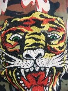 Ed Hardy women new tiger top rhinestones platinum black shirt NWT