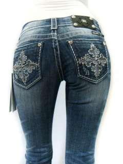 ME Sparkle Crystal Fleur Cross Pick Stitch DK 81 Bootcut Jeans