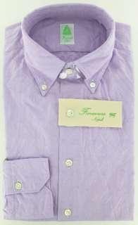 New $375 Finamore Napoli Lavender Purple Shirt 15.5/39