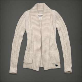 NWT Abercrombie & fitch Women Coby Cardigan Sweater Shirt Cream $68