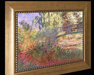 MONET REPRO PATH WATER LILY POND FRAMED CANVAS 35x29