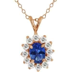 Sapphire Blue Mystic Topaz and Topaz 14k Rose Gold Pendant Jewelry