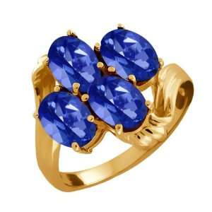 80 Ct Oval Sapphire Blue Mystic Topaz 18k Yellow Gold Ring Jewelry