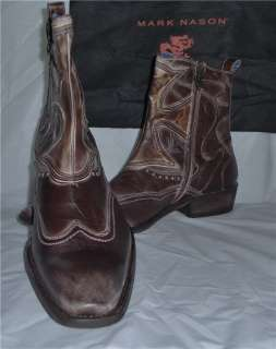 NEW Mens Mark Nason Mens Shoes Amberoom Brown Boots Italian Leather