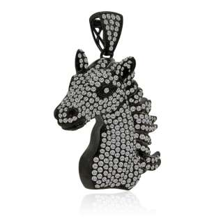 62CT PAVE DIAMOND HORSE PENDANT CHARM 14K BLACK GOLD