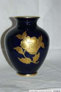 Echt Kobalt Vase Waldershof Bavaria 22ct Gold Malerei