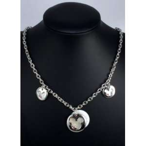 Silver Plated Crystal Disneys Mickey Mouse Outline Necklace Jewelry