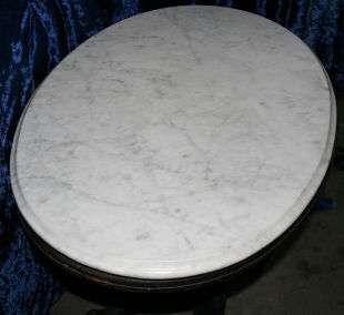 ANTIQUE VICTORIAN CARRARA MARBLE OVAL TABLE WOOD WOODEN BASE ORIGINAL