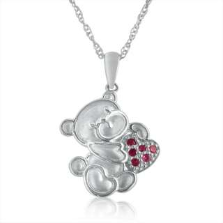 Pink Sapphire Teddy Bear Necklace in Sterling Silver