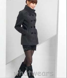 New Womens Double Breasted Wool Long Trench Coat 4 Colors 4 Size M L