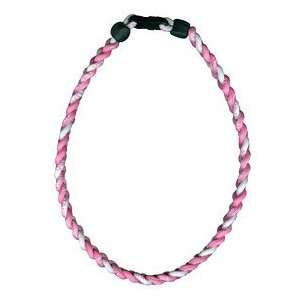 Titanium Ionic Braided Necklace   Pink/White