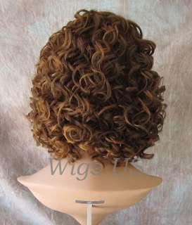 WIGS Human Blend HEAT OK Short Sexy Curls Chestnut & Strawberry wig