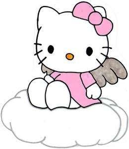 WINDOW COLOR Fensterbild Hello Kitty Engel Wolke auf Haftfolie