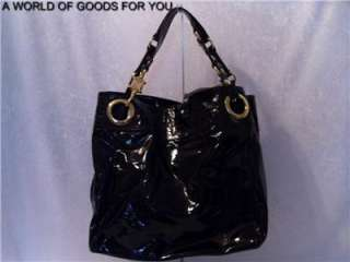 NWT STEVE MADDEN CANDY COATED BLACK PATENT LEATHER LIKE LARGE TOTE