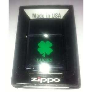 Zippo Custom Lighter   Black Ivory Lucky 4 Leaf Clover
