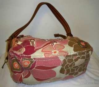 pink orange brown mauve Floral Canvas & Leaher hobo bag purse flowers