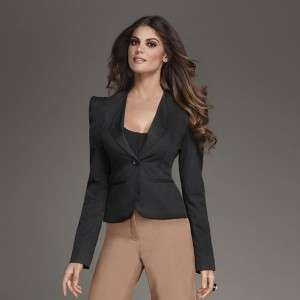 Kim Kardashian Kollection classic peak shoulder Blazer Black Tuxedo
