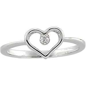 Jewelry Locker .02 ct tw Diamond and White Gold Heart Ring Jewelry