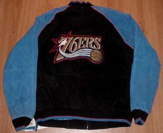 PHILADELPHIA 76ERS SUEDE LEATHER JACKET XXL 2XL NBA