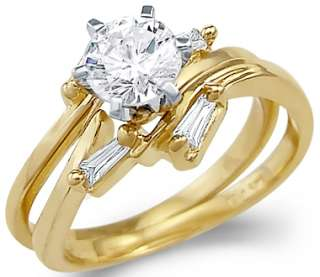 14k Yellow Gold Engagement Wedding Set CZ Two Rings New