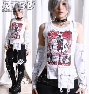 Gothic Punk Skeleton Death Graphic Tank Top+Utility Pocket+Strapy Arm