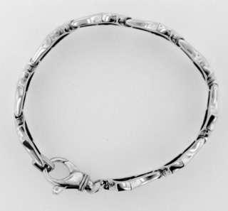 Sterling Silver Bullet and Link Biker Bracelet