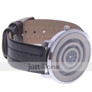 Fashion Women Quartz Wrist Watch Circular ring Leather