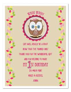 OWL Personalized Birthday Party Favors THANK YOU NOTES