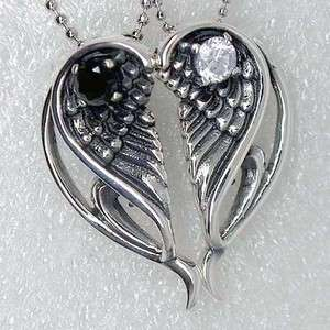 Split Angel Wings Heart Best Friends 925 Sterling Silver Pendant/Charm