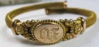 antique Victorian gold filled Mesh Monogrammed Signet Wrap Bracelet