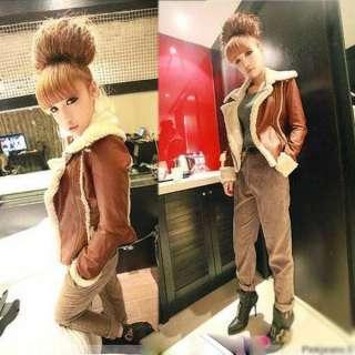 Fashion Korean Women PU Leather Jacket Coat 0697
