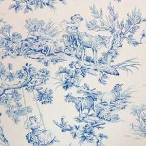 BLUE MUSEE FRENCH COUNTRY TOILE MULTIPURPOSE DRAPERY UPHOLSTERY FABRIC
