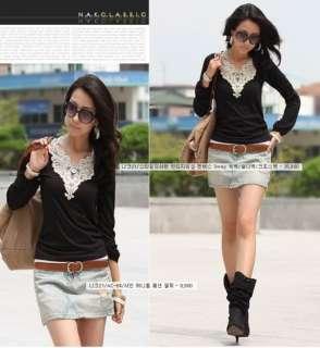 New Women Long Sleeve Tops Black Lace Trim T Shirt 1441