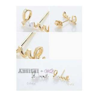 Cute Lovely Delicate Love Shape Loving Lover Pearl Earring Ear Nail
