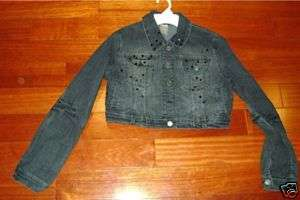 LIMITED TOO NEW GIRLS 18 CROPPED BLACK DENIM JACKET