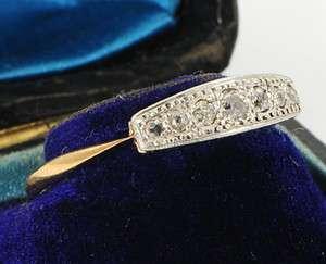 Art Deco 18 Ct Gold Platinum 7 Diamond Ring Sz S or 9 1/4 c1925