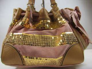 Juicy Couture Pink Gold Sequin Stripe Daydreamer Tote Handbag w