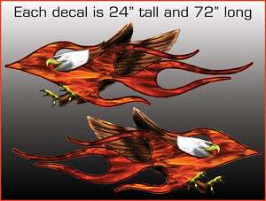 Eagle Real Flame Motorcycle Trailer Graphic Decals 6 ft