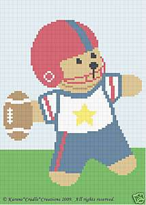 FOOTBALL TEDDY BEAR Crochet Baby Afghan Graph Pattern