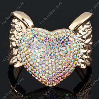 Swarovski crystal rhinestone love heart Wing Rose goldtone fashion