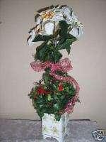 WHITE POINSETTIA FLOWER CHRISTMAS FLORAL ARRANGEMENT