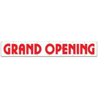 Lynch Sign Co. 20ft.x 3ft.Banner Red on White Vinyl Grand Opening BA