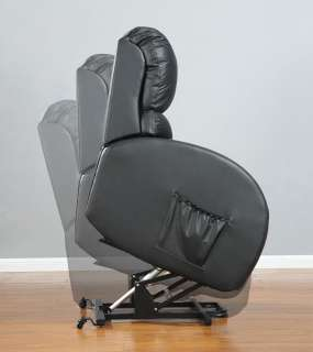 Power Lift Recliner Chair In Black Leather With Remote Control