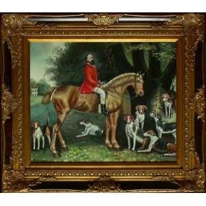 Vor der Jagd, englische Jagdszene des 19. Jahrhunderts mit Beagle